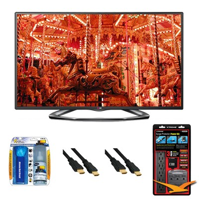 50LA6200 50` 1080p 3D Smart TV 120Hz Dual Core 3D Direct LED Value Bundle