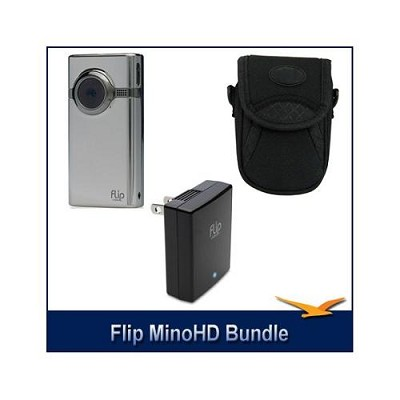 MinoHD 8GB Camcorder (Brushed Metal) + Bonus Case & Flip Video AC Power Adapter