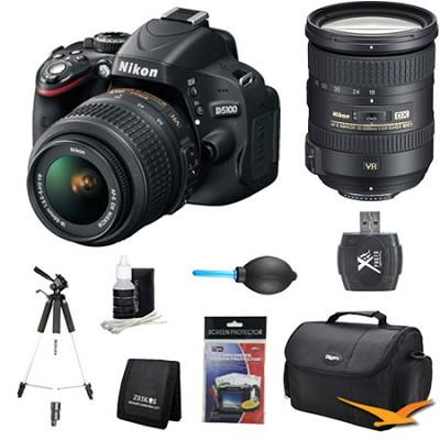 D5100 DX-format DSLR Body w/ 18-55mm VR and 18-200mm ED VR II Pro Lens Bundle
