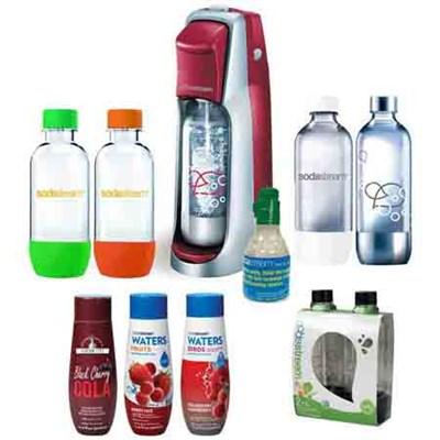 Fountain Jet Soda Maker Bundle w/ 6 Bottles, 3 Flavors, and Starter CO2 (Black)