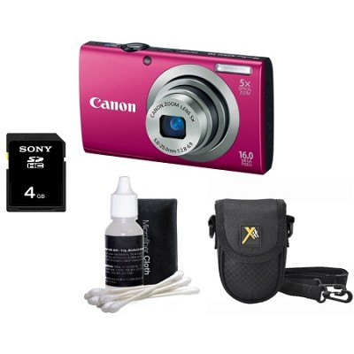 PowerShot A2300 16MP Red Digital Camera All-In-One Bundle