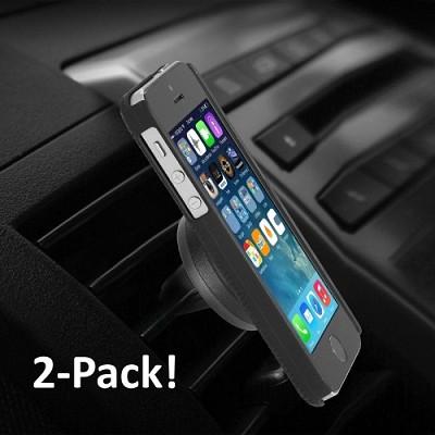 Universal Car Air-Vent Magnet Clip Holder for Smartphones - 2 Pack
