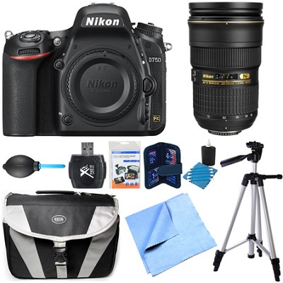 D750 DSLR 24.3MP HD 1080p FX-Format Camera Body 24-70mm NIKKOR Lens Bundle