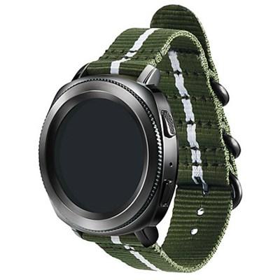 Premium Nato Strap for Gear Sport (20mm)- Green w/ White - GPR600BREECAD