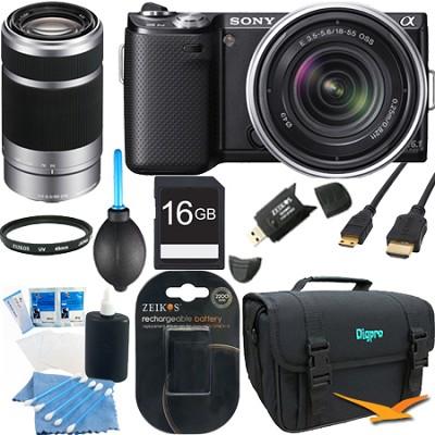 NEX-5N 16.1MP Compact SLR Camera w/ 18-55mm,  55-210mm Lenses - Bundle Deal