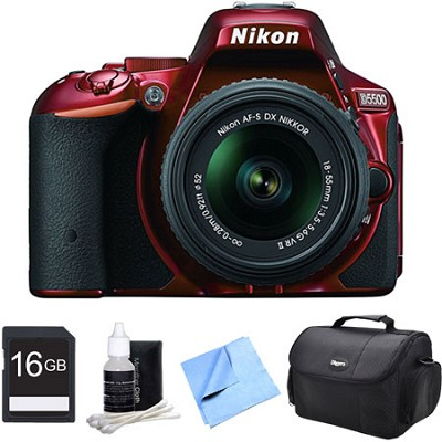 D5500 Red DSLR Camera 18-55mm Lens and 16GB Bundle