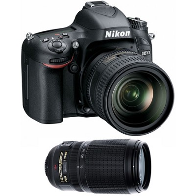 D610 FX-format 24.3 MP 1080p video Digital SLR Camera with 24-85mm and 70-300mm