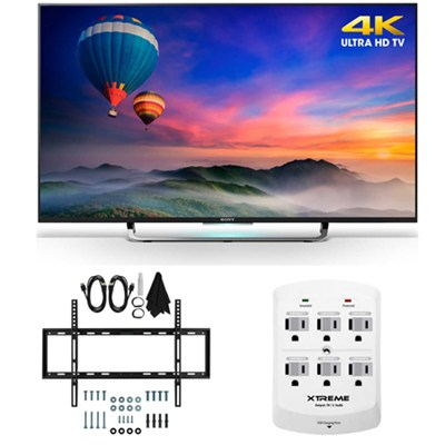 XBR-49X830C - 49-Inch 4K Ultra HD Smart LED HDTV Slim Flat Wall Mount Bundle