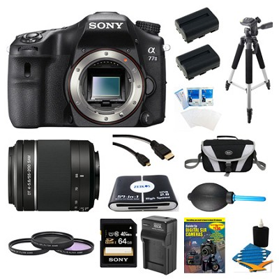 a77II HD DSLR Camera, 64GB Card, and 55-200mm Lens Bundle