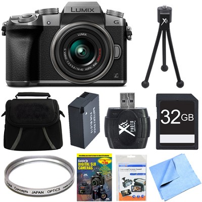 LUMIX G7 Interchangeable Lens 4K Ultra HD DSLM Camera 14-42mm Lens 32GB Bundle