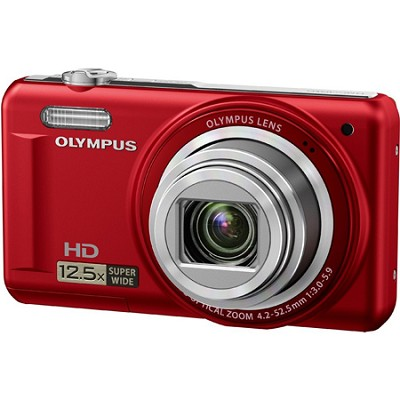 VR-320 14MP 12.5x Super Wide Zoom Red Digital Camera