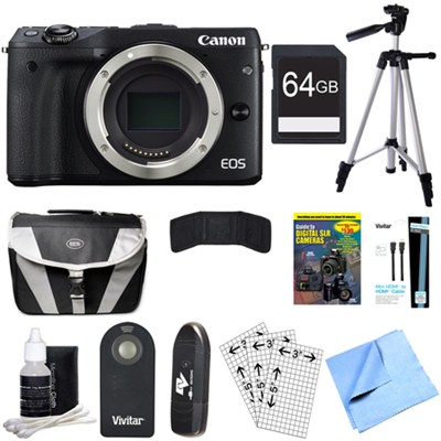 EOS M3 24.2MP Black Mirrorless Digital Camera Body 64GB Bundle