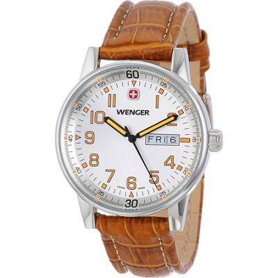 Men's Commando Day Date XL Watch - Silver Dial/Brown Leather Strap