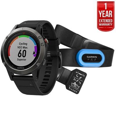 Fenix 5 Multisport GPS Watch Performer Bundle Gray + 1 Year Extended Warranty