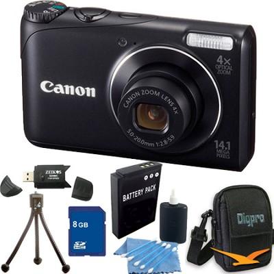 PowerShot A2200 14MP Black Digital Camera 8GB Bundle
