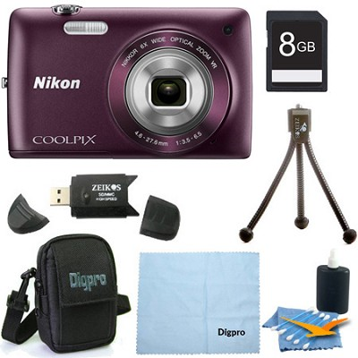 COOLPIX S4300 16MP 3-inch Touch Screen Digital Camera 8GB Purple Bundle