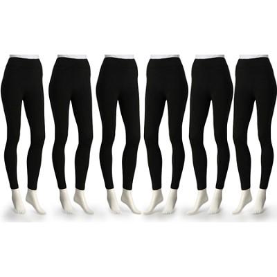 6-Pack Fleece Lined Leggings Midnight Black X-Large Size ( 1X/2X )