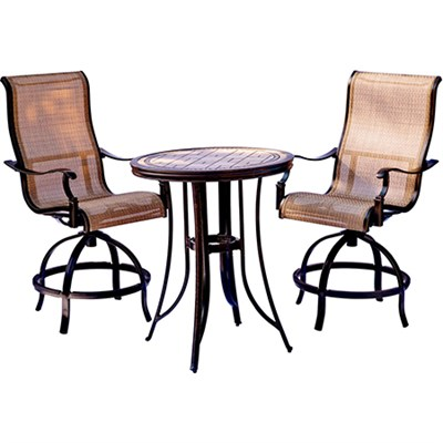 Monaco 3PC Bar Set: 2 Swivel Bar Stools and 30  Porcelain Bar Tbl
