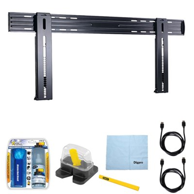 HDpro Super Slim Flat Wall Mount for 37` - 70` TVs w/ Accessories Bundle