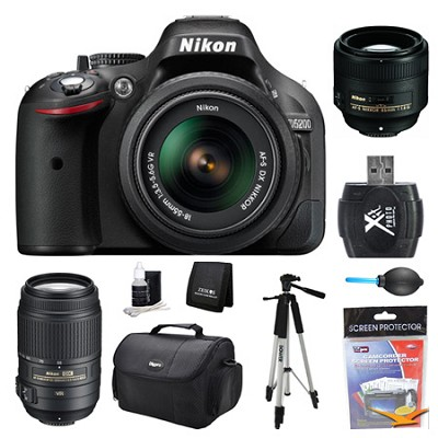 D5200 DX-Format Digital SLR Camera 18-55mm, 55-300mm, and 85mm Lens Kit
