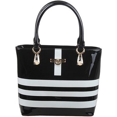 Striped Tote Bag with Silver Fashion Hardware in Black/White