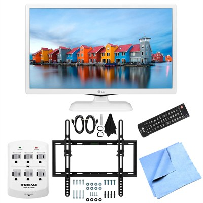 24LF4520-WU - 24-Inch HD 720p 60Hz LED TV (White) Flat & Tilt Wall Mount Bundle