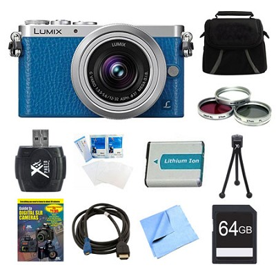 LUMIX DMC-GM1 DSLM Blue Camera with 12-32mm Lens 64GB Bundle