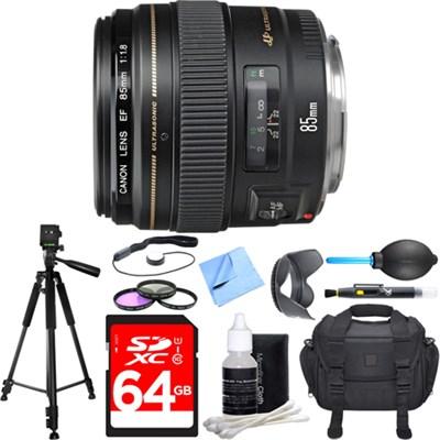 EF 85mm f/1.8 USM Medium Telephoto Lens Deluxe Accessory Bundle