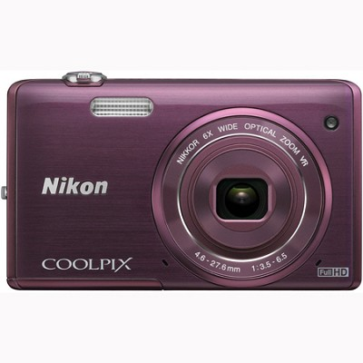 COOLPIX S5200 16 MP Built-In Wi-Fi Digital Camera - Plum