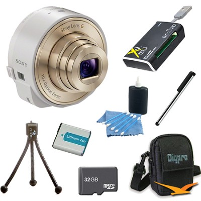 DSC-QX10/W Smartphone attachable lens-style camera (White) 32GB Bundle
