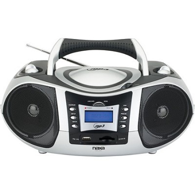 Portable MP3/CD Player with Text Display, AM/FM Stereo Radio, USB Input & SD/MMC