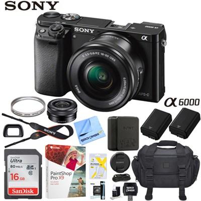 Alpha a6000 24MP Interchangeable Lens Camera Black w/ 16-50mm Lens Pro Bundle