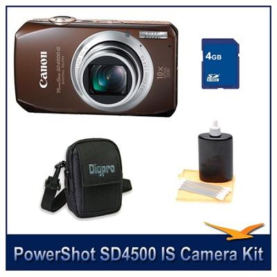 PowerShot SD4500 IS Brown Bundle w/ 4GB Memory, Case, Cleaning Kit