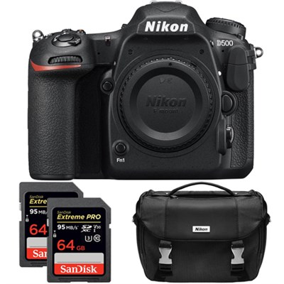 D500 20.9 MP DX Format DSLR Camera (Body) Dual Pro Memory Card and Case Bundle