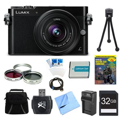 LUMIX GM5 DSLM Black Camera Plus 12-32mm Lens 32GB Bundle