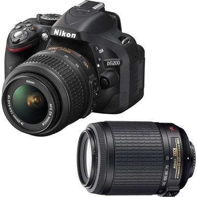 D5200 24.1 MP DSLR Camera, 18-55mm & 55-200mm Lens Bundle - Factory Refurbished