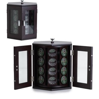 Wallace Dark Walnut Rotating Coffee Pod Cabinet - 5114376