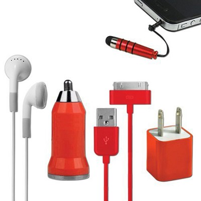 5-in-1 Travel Kit for iPhone 4/4S and 4th Generation iPods - Red