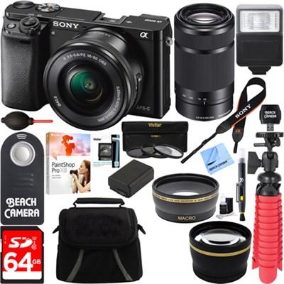 Alpha a6000 24.3MP Mirrorless Camera 16-50mm & 55-210mm Zoom Lens 64GB Kit Black
