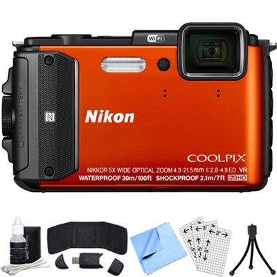 COOLPIX AW130 16MP Waterproof Digital Camera w/Wi-Fi (Orange) Refurbished Bundle