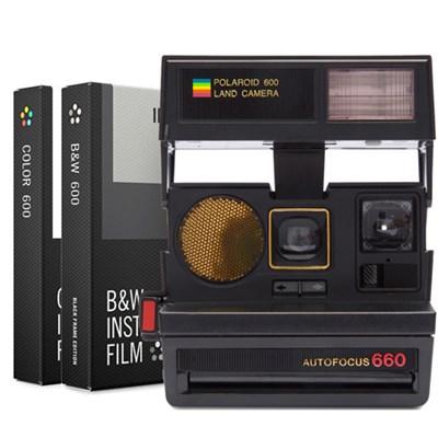Polaroid 600 Sun 660 AF Camera with Flash - Black w/ Dual Film Bundle