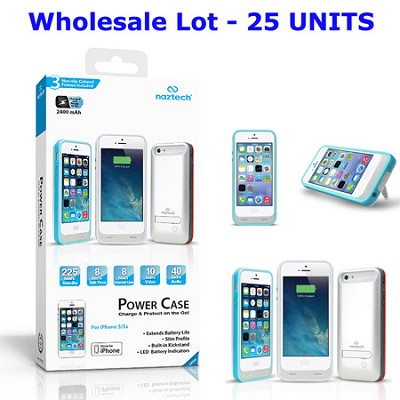 Apple Certified 2400mAh Power Case for iPhone 5/5s, White - 25 Pc. Wholesale Lot
