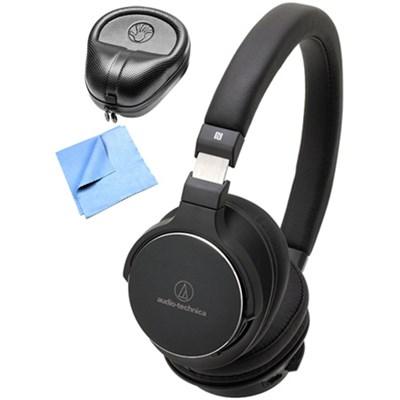 Wireless On-Ear High-Resolution Headphone w/ Slappa Case & Cleaning Cloth, Black