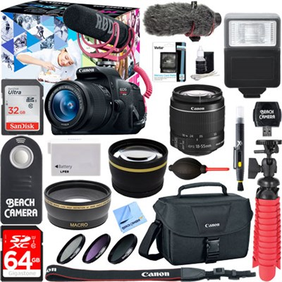 EOS Rebel T5i Video Creator w/ 18-55mm Lens, Rode Video Mic, 64GB Memory Bundle