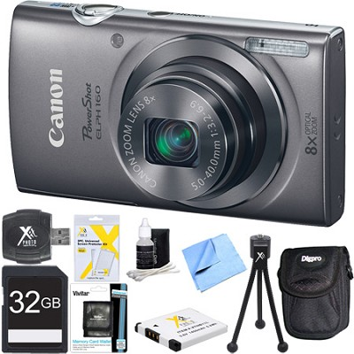 PowerShot ELPH 160 20MP 8x Zoom HD Digital Camera Silver 32GB Ultimate Bundle