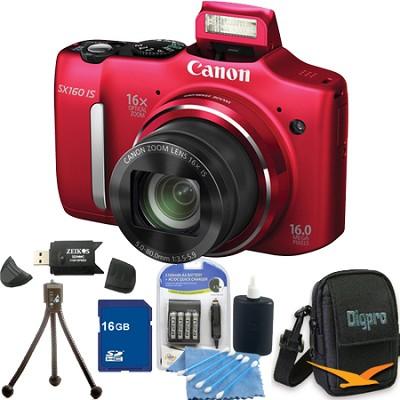 Powershot SX160 IS 16MP 16x Zoom Red Digital Camera 16GB Bundle