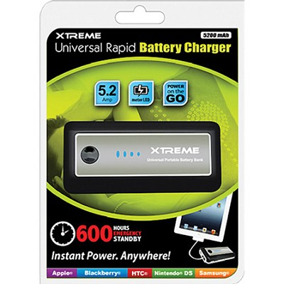 5200 MaH Universal Rapid Battery Charger with LED flashlight