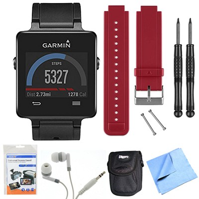 vivoactive GPS Smartwatch - Black (010-01297-00) Red Replacement Band Bundle