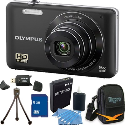 VG-120 14MP 5x Opt Zoom 3-inch LCD Digital Camera Black 8GB Kit