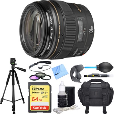 EF 100mm F/2.0 USM Lens Deluxe Accessory Bundle